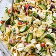 Crunchy Greek Pasta Salad with Artichoke Hearts, Cucumbers and Olives | foodiecrush.com