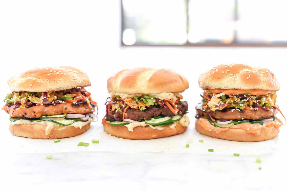 Korean BBQ Burgers 3 Ways with Spicy Korean Slaw | foodiecrush.com