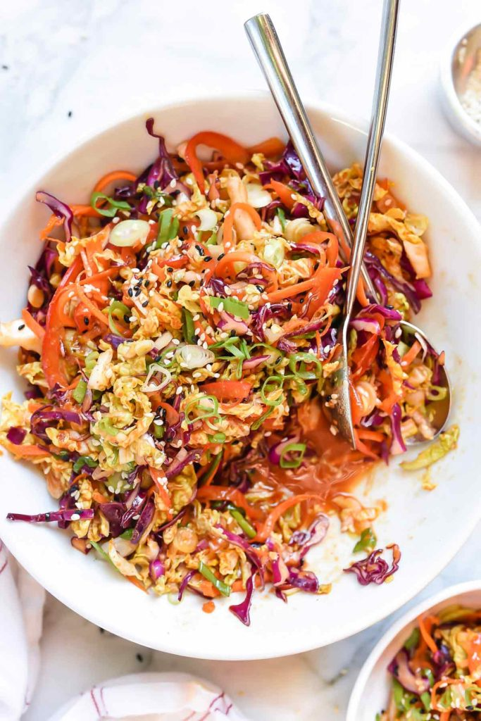 Quick Korean Kimchi Slaw Recipe | foodiecrush.com