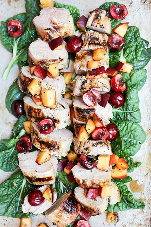 Grilled Pork Tenderloin with Peach-Cherry Salsa from floatingkitchen.net on foodiecrush.com