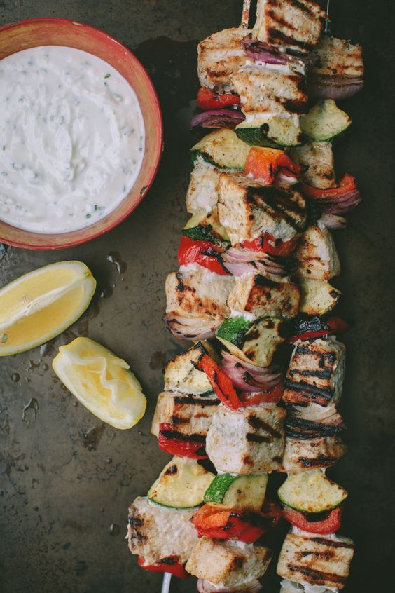 Grilled Swordfish Kabobs with Garlic Yogurt Sauce from athoughtforfood.net on foodiecrush.com
