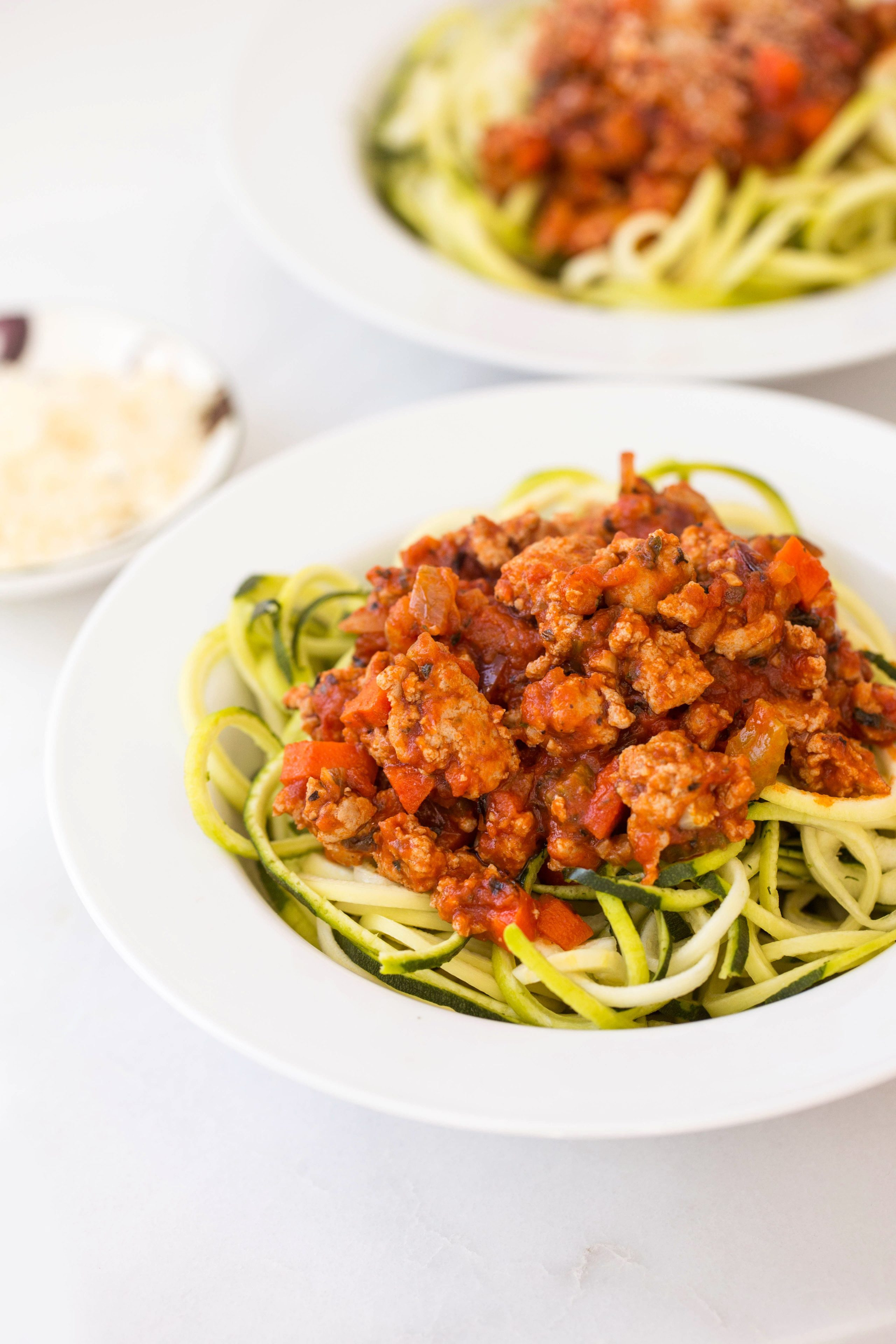 Turkey Bolognese with Zucchini Noodles from inspiralized.com on foodiecrush.com