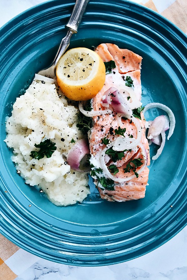 Slow Cooker Poached Salmon from Reluctant Entertainer on foodiecrush.com