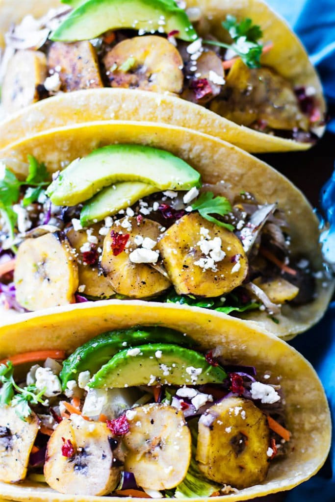Crock Pot Cuban Pork Tacos with Fried Plantains from Cotter Crunch on foodiecrush.com
