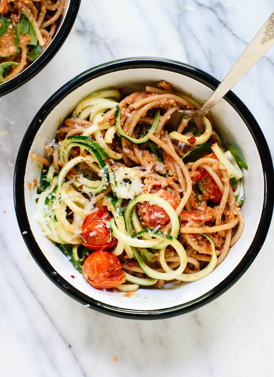 Double Tomato Pesto Spaghetti with Zucchini Noodles from cookieandkate.com on foodiecrush.com
