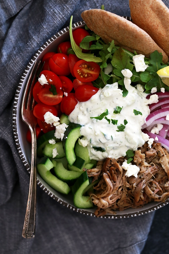 Slow Cooker Pulled Pork Gyro Bowls from Melanie Makes on foodiecrush.com