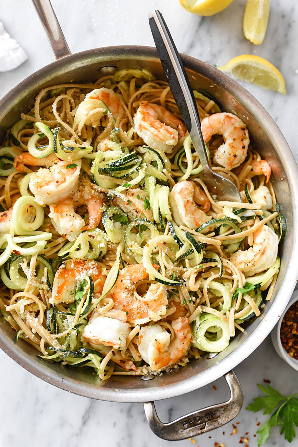 Whole Wheat Linguine and Zucchini Noodles with Shrimp from FoodieCrush