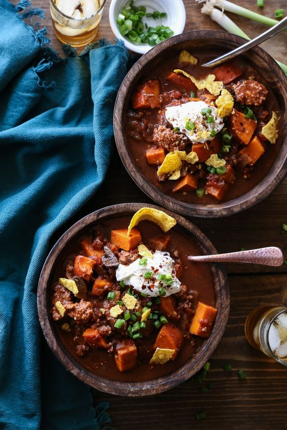 Crockpot Boozy Bison Chili from theroastedroot.net on foodiecrush.com