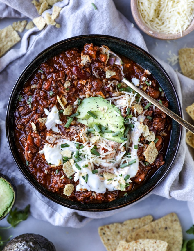 Game Day Beer Chili from howsweeteats.com on foodiecrush.com