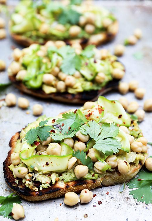 Grilled Avocado Toast with Spicy Marinated Chickpeas and Zucchini from floatingkitchen.net on foodiecrush.com