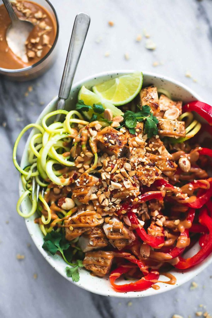 Thai Peanut Chicken and Zucchini Noodle Bowls from lecremedelacrumb.com on foodiecrush.com