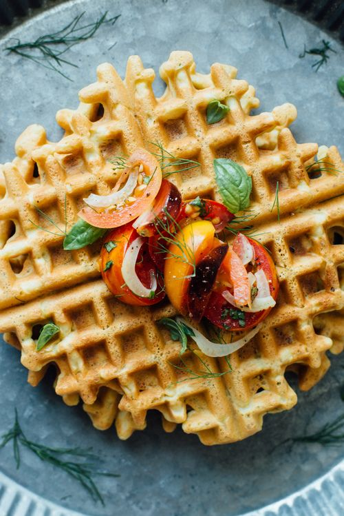 Zucchini-Basil Chickpea Waffles with Tomato and Shaved Fennel Salad from dollyandoatmeal.com on foodiecrush.com