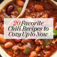 20 Chili Recipes to Cozy Up to Now | foodiecrush.com #chili #dinner #crockpot #easy #beef #chicken #vegetarian