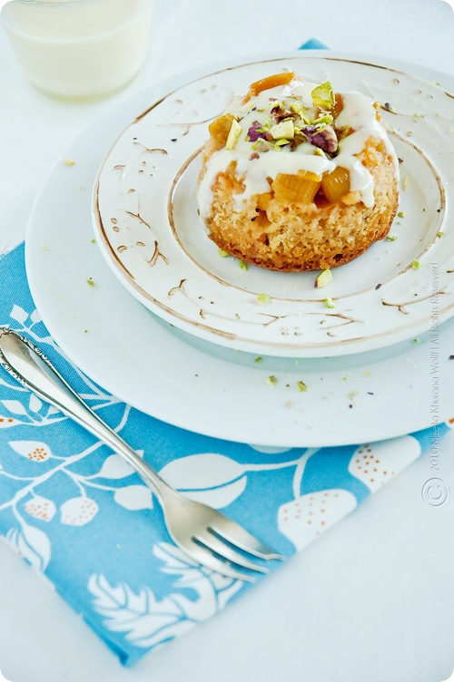 FoodieCrush Magazine Rhubarb Pear Sponge Pudding from Whats for Lunch Honey