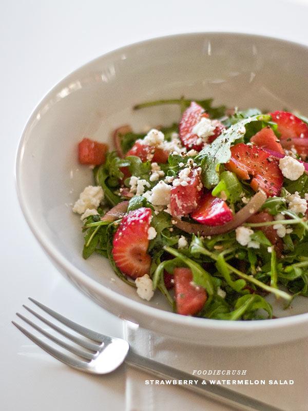 Strawberry and Watermelon Arugula Salad | foodiecrush.com