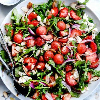 Strawberry and Watermelon Arugula Salad with Balsamic Dressing #foodiecrush.com #salad #strawberry #arugula #spring #feta