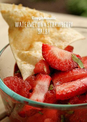 FoodieCrush Magazine Doughmesstic Watermelon Strawberry Salsa