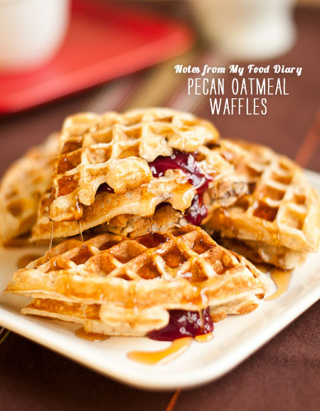 FoodieCrush magazine Pecan Oatmeal Waffles Notes from My Food Diary