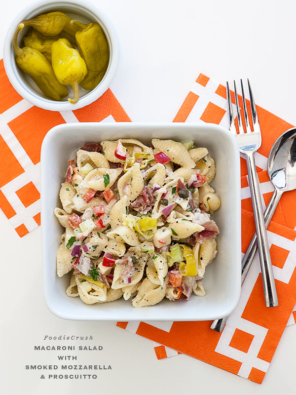 Macaroni Salad with Smoked Mozzarella and Prosciutto | #easy #recipe #Italian foodiecrush.com