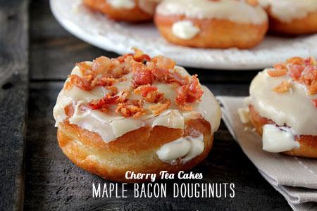 FoodieCrush Magazine Cherry Tea Cakes Maple Bacon Doughnuts