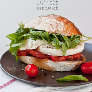 FoodieCrush Caprese Tomato and Mozzarella Sandwich