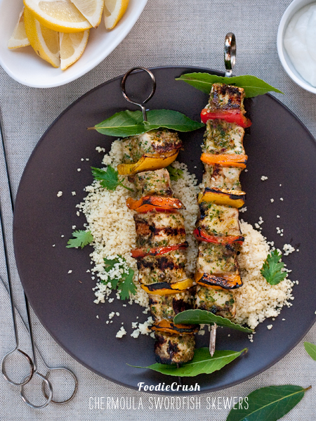 FoodieCrush Swordfish Skewers