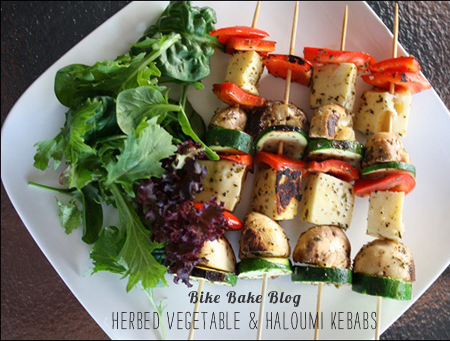 FoodieCrush Magazine Bike Bake Blog Vegetable Haloumi Kebab
