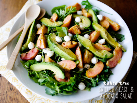 FoodieCrush Magazine Baked Bree Grilled Avocado and Peach Salad