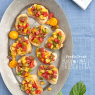 Peach and Tomato Bruschetta Recipe | foodiecrush.com