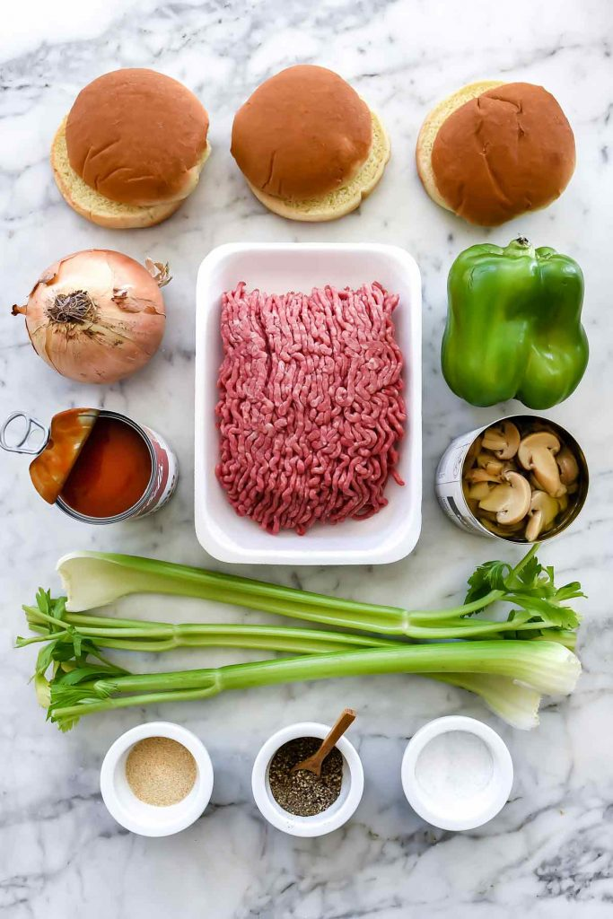 One Pot Sloppy Joes Ingredients | foodiecrush.com #hamburger #sloppy #joes #sandwich
