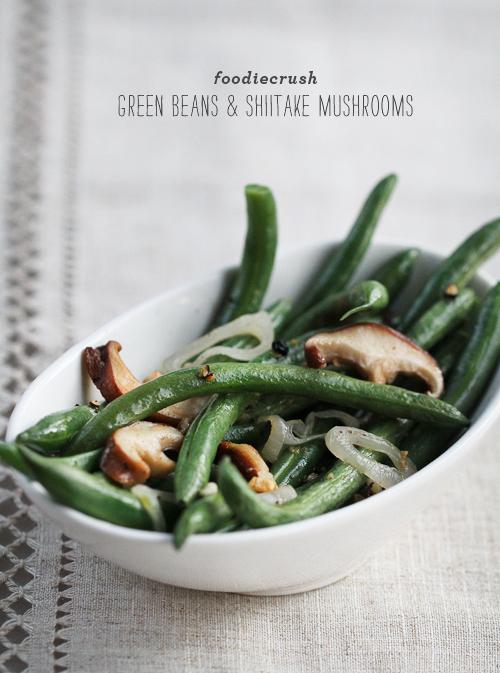 Haricots verts et champignons shiitake de foodiecrush.comush haricots verts aux champignons shiitake