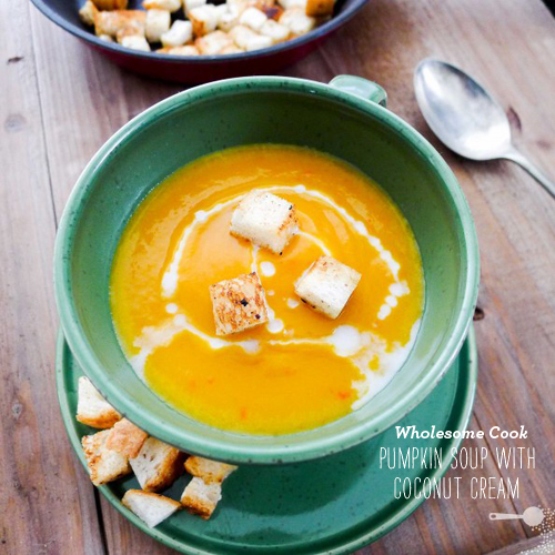 FoodieCrush Wholesome Cook Pumpkin Soup with Coconut Cream