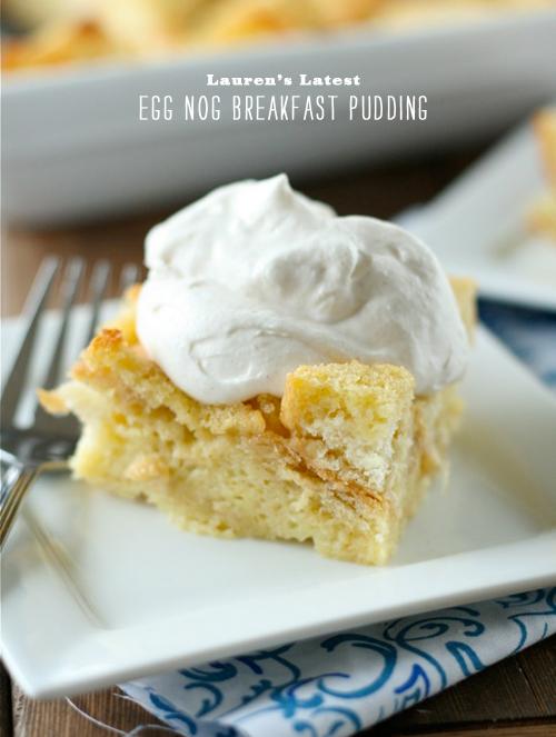 FoodieCrush Magazine Lauren's Latest Egg Nog Breakfast Pudding