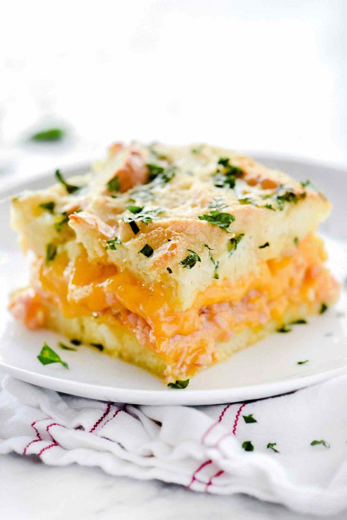 Ham and Cheese Breakfast Casserole   foodiecrush.com #breakfast #casserole #recipes #ham #cheese #holiday #christmas