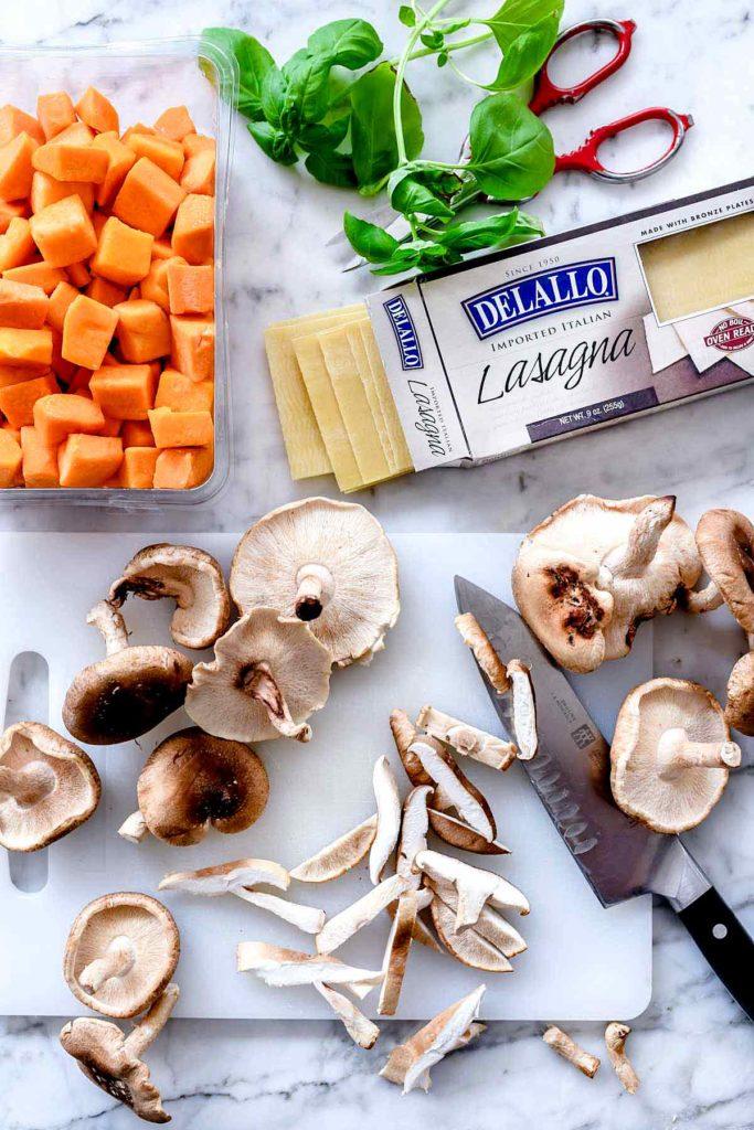 Butternut Squash and Mushroom Lasagna ingredients | foodiecrush.com #lasagna #easy #vegetarian #recipe