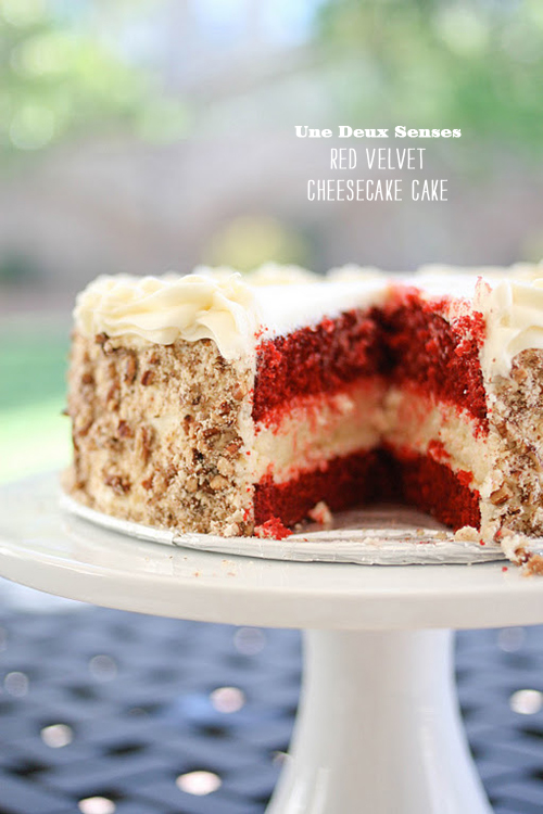 FOodieCrush Magazine Une Deux Senses Red Velvet Cheesecake Cake