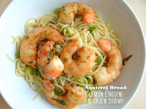 FoodieCrush Squirrel Bread Lemon Linguine Cajun Shrimp
