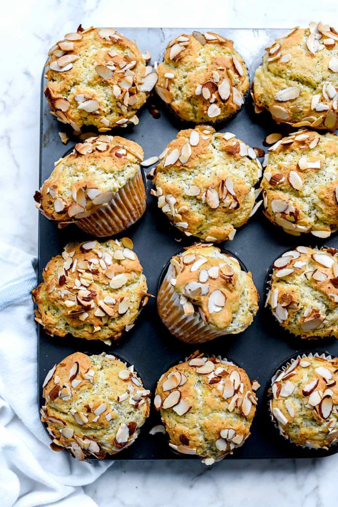 lemon and almond poppy seed muffins