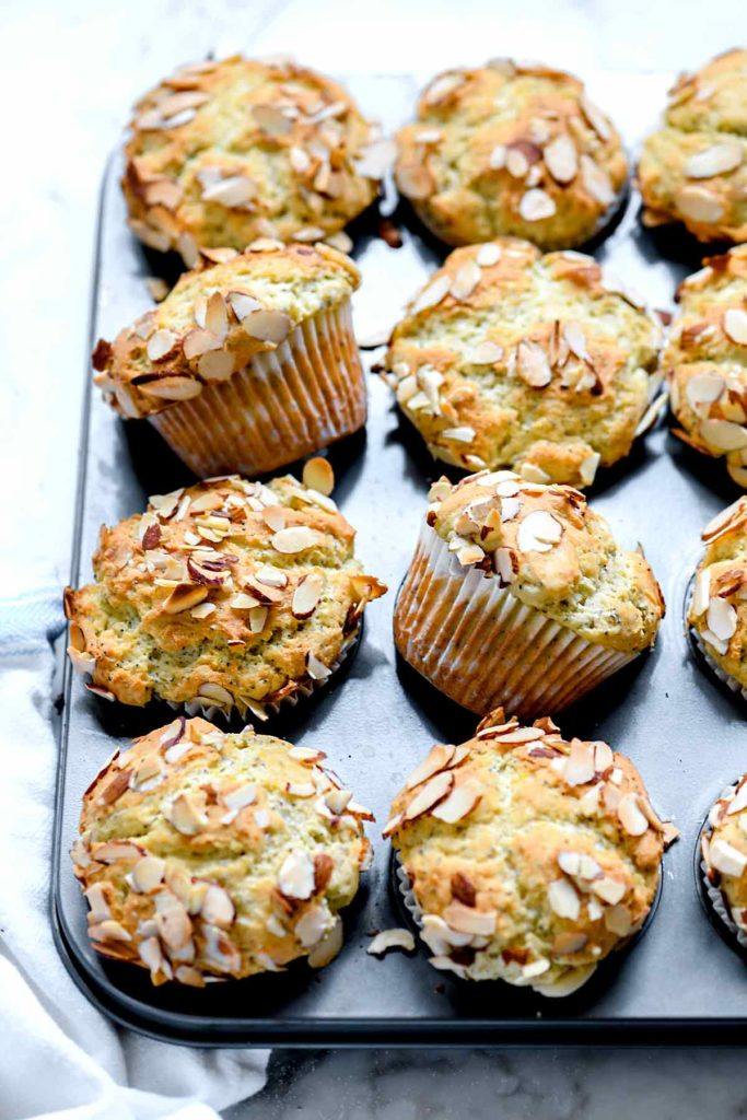 lemon poppy seed muffins with almonds