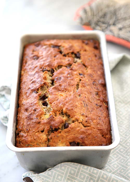 banana bread with yogurt in loaf pan