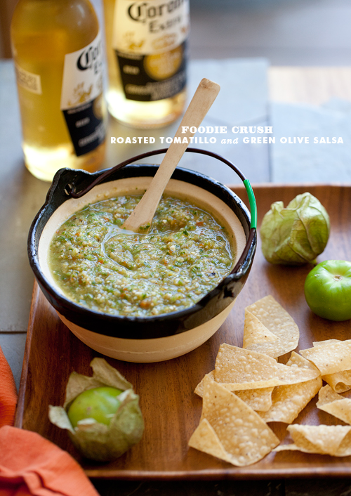 Roasted Tomatillo and Green Olive Salsa | FoodieCrush.com