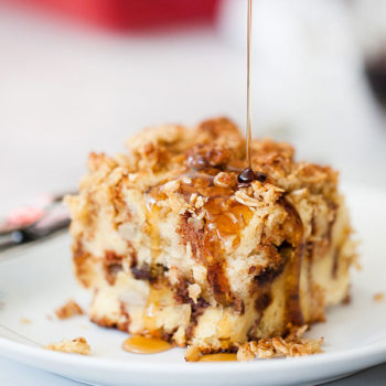Banana and Chocolate Chip Baked French Toast with Oatmeal Crumble is an easy make-ahead breakfast everyone loves | foodiecrush.com