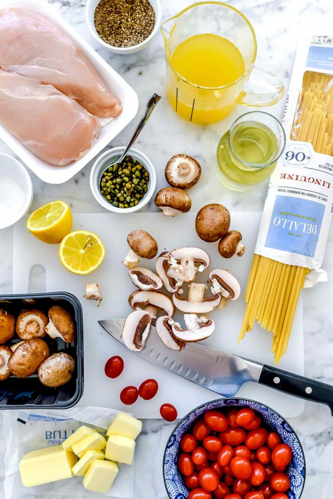 Ingredients Chicken Piccata Pasta | foodiecrush.com #chicken #pasta #dinner #piccata #capers #healthy