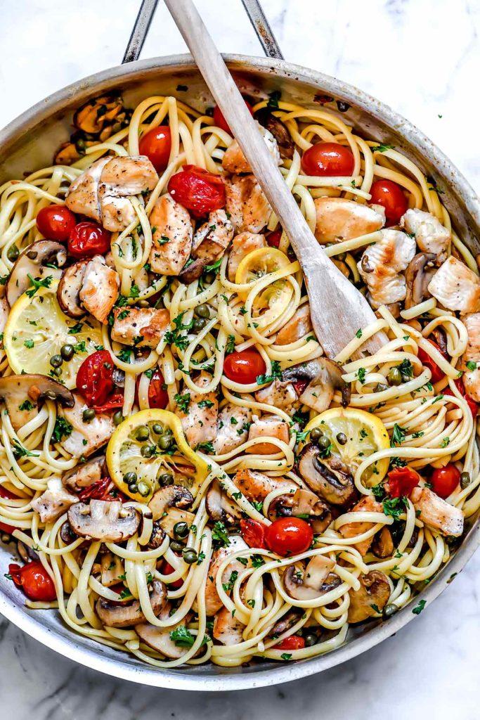Chicken Piccata Pasta | foodiecrush.com #chicken #pasta #dinner #piccata #capers #healthy