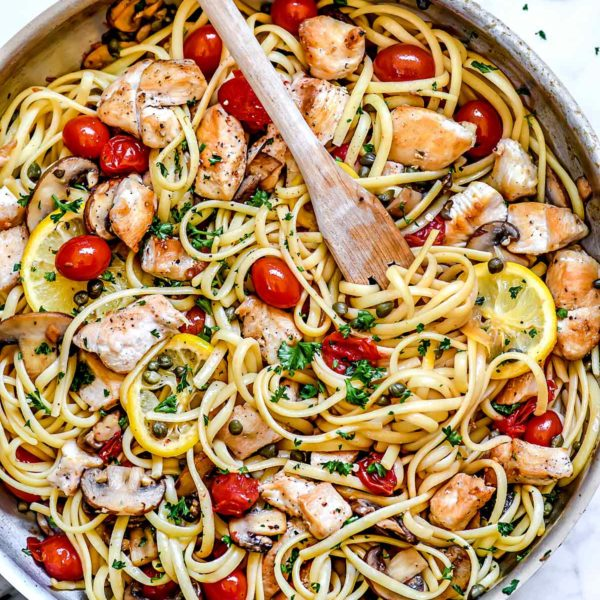Chicken Piccata Pasta | foodiecrush.com #chicken #pasta #dinner #piccata #capers #healthy