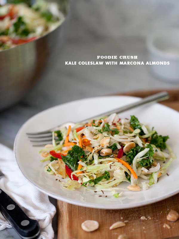Kale and Cabbage Coleslaw Salad with Marcona Almonds