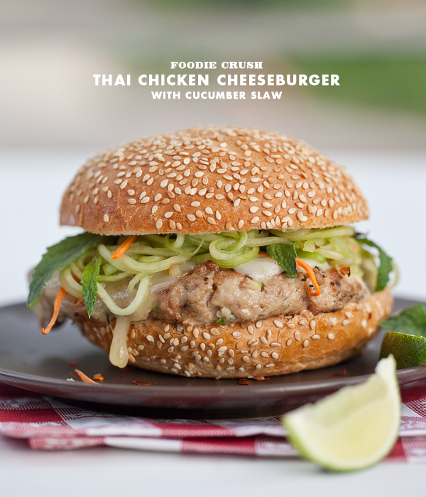 Foodie Crush Thai Chicken Burger with Cucumber Slaw