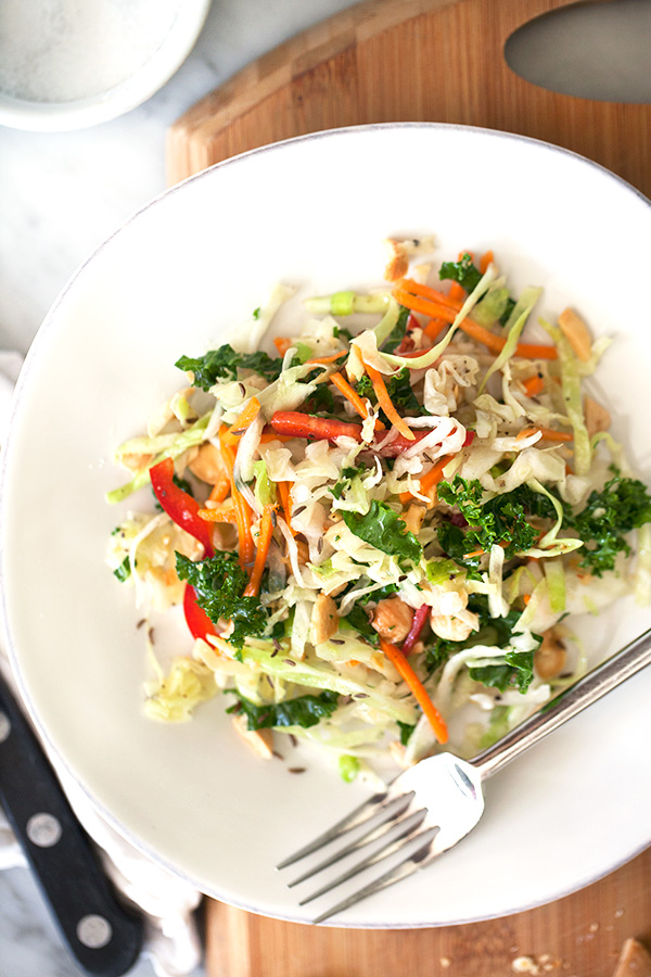 Kale and Cabbage Coleslaw with Marcona Almonds   foodiecrush.com