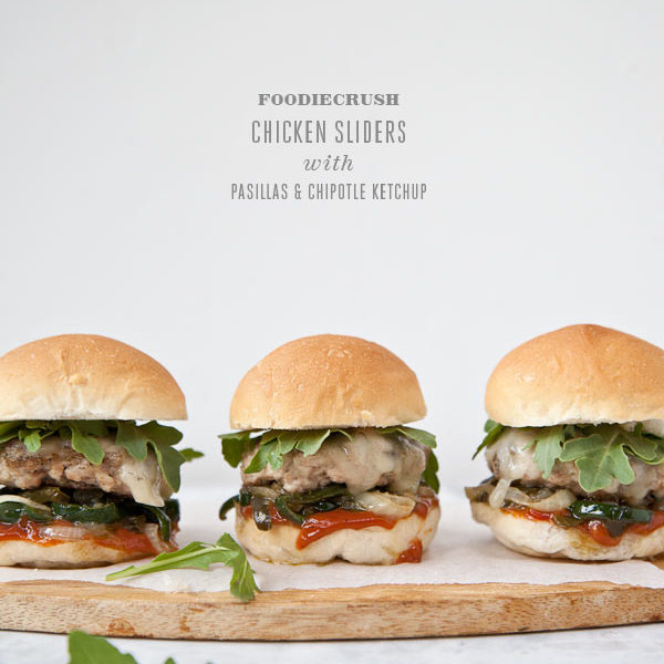 Ground Chicken Burger Sliders with Pasilla Peppers and Chipotle Ketchup