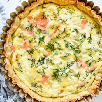Easy Puff Pastry Salmon Quiche | foodiecrush.com